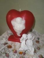 Κερί καρδιά με αγγελάκι
